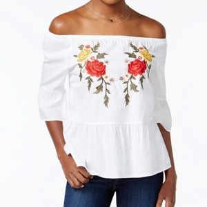 NWT Off the Shoulder Embroidered Top